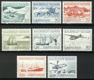 Greenland 1971-1977, Postal service in Greenland all 8 issues VF MNH