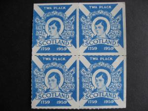 Scotland Robert Burns 1759-1959 TWA Plack MNH labels block 4