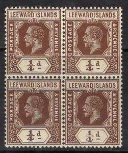 LEEWARD ISLANDS SG46 1912 ¼d BROWN MTD MINT BLOCK OF 4