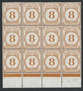 MALAYA POSTAL UNION 1945-49 8c postage due SG D10 MNH block of 12..........50106