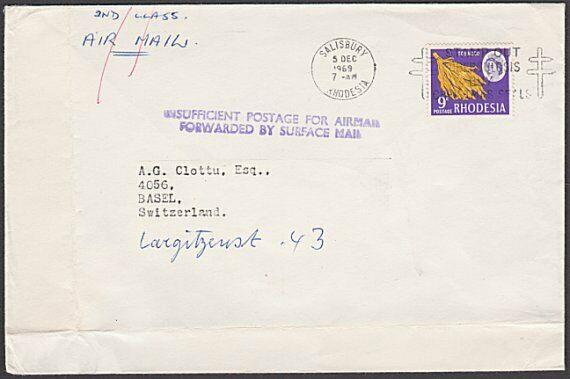 RHODESIA 1969 cover to Switzerland : INSUFFICIENT POSTAGE FOR AIRMAIL......54314