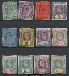1904-10 Straits Settlements KEVII Definitives Short set of 12 SG 127-138 MH