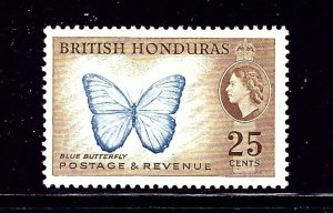 British Honduras 151 MH 1953 Butterfly  number penciled on gum