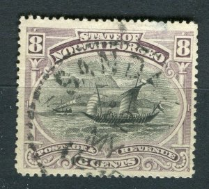 NORTH BORNEO; 1894 early pictorial issue fine used 8c. value Postmark