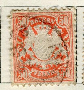 GERMANY BAVARIA;  1888 Wmk. classic issue fine used 50pf. value