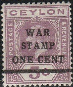 Ceylon, #MR4  Mint Hinged From 1918