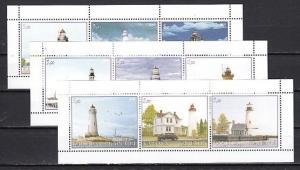 Karjala  2000 Russian Local. Lighthouses on 3 sheets of 3 values. *