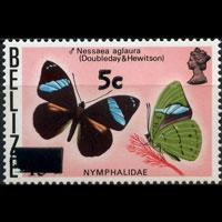 BELIZE 1977 - Scott# 386 Butterfly Surch. Set of 1 NH
