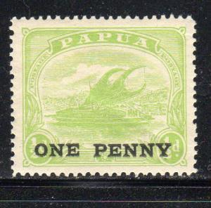 PAPUA NEW GUINEA  #74  1917 1p ON 1/2p LAKATONI SURCHARGED   MINT VF LH O.G