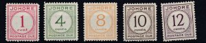 JOHORE  1938  S G D1 - D5   POSTAGE DUE SET OF 5   MH  CAT £220  LIGHT TONING