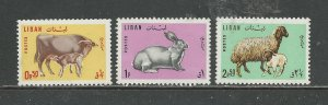 Lebanon Scott catalog # 440-442 Unused Hinged