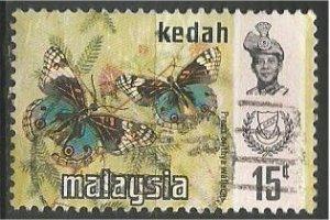 KEDAH, 1971, used 15c, Butterfly Scott 118