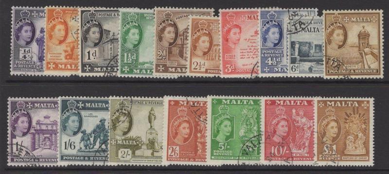 MALTA SG266/82 1956-8 DEFINITIVE SET FINE USED
