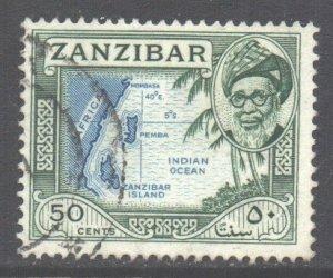 Zanzibar Scott 257 - SG366, 1957 Sultan 50c used