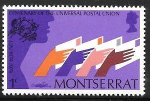 Montserrat 306: 1c Hands Holding Letters, MH, VF