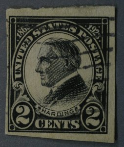 United States #611 2 Cent Harding Imperforate Used Toned Paper