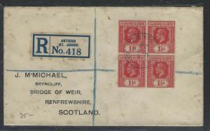 LEEWARD ISLANDS  (P1104B) 1928  KGV  1 1/2D BL OF  4 REG ANTIGUA TO ENGLAND