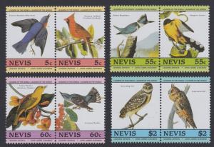 Nevis Birds Audubon 1st issue 8v in pairs SG#269-276 SC#408=413