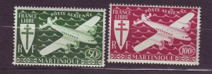 J23809 JLstamps 1945 french martinique set mnh #c1-2 airplanes