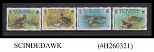 SOUTH GEORGIA - 1992 TEAL DUCK / BIRDS / WORLD WILDLIFE FUND WWF - 4V - MNH