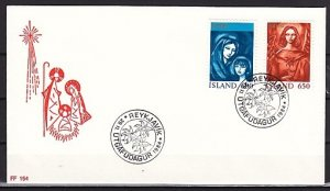 Iceland, Scott cat. 595-596. Religious Christmas issue. First day cover. ^