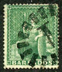 BARBADOS SG17 1861 1/2d Deep Green Clean Cut Perf 14 to 16 Cat 22