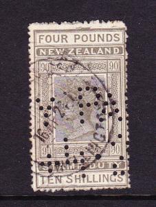 NEW ZEALAND  1882  4pound 10/-  QV FISCAL  P14