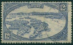 Brunei 1924 SG74 12c blue Water Village FU