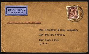 JAMAICA 1936 GV 9d on airmail cover to USA...............95728