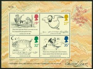 SGMS1409, 1988 Edward Lear Death Centenary MINI SHEET.