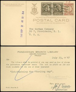 1947 LINGAYEN, PANGASINAN PHILIPPINES, Mixed Franking R.P. & COMMONWEALTH on PC!