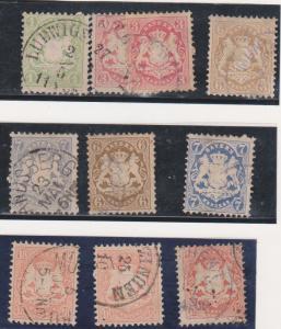 Bavaria 1870 Issues - 2015 Scott #23/30 used Cat. $185.30 Michel #22/37 F-VF