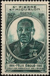St-PIERRE-&-MIQUELON - 1945 -Yv.324 25fr Félix Éboué NEUF** pli avant impression