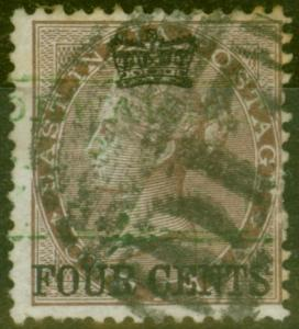 Straits Settlements 1867 4c on 1a Dp Brown SG4 Fine Used with Chop