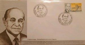 A) 1985, BRAZIL, PRESIDENT, FDC, FORMER PRESIDENT TANCREDO NEVES, ECT