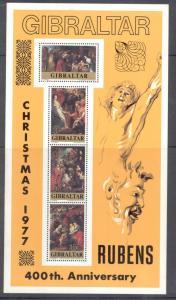 Gibraltar Sc 362a 1977 Christmas stamp sheet mint NH