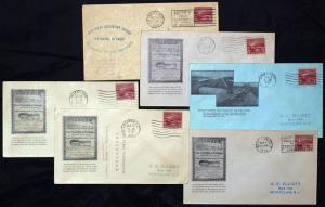 #681 6 FDC/6 DIFF CITIES CANCEL CACHET BY ELLIOT BL6551