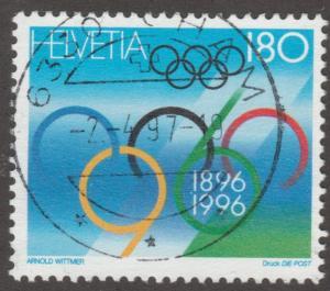 Switzerland stamp, Scott# 972, used,  Olympics, rings,, multi color, #M324