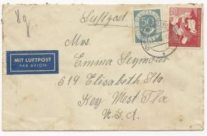 Germany Scott #681 #B326 on Air Mail Cover August 14, 1953