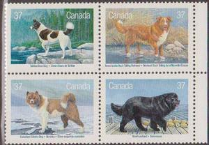 Canada - 1988 Dogs of Canada Complete Set as Block of 4 VF-N