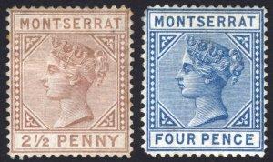 Montserrat 1880 2 1/2d - 4d Wmk CC SG 4-5 Scott 3-4 MM/MH Cat £400($520)