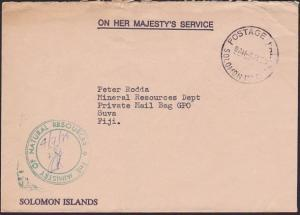 SOLOMON IS TO FIJI 1979 OHMS commercial cover POSTAGE PAID cds..............5978