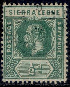 SIERRA LEONE GV SG112, ½d blue-green, FINE USED. CDS