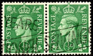 1941 Sg 485 ½d Pale Green Used Pair with National Savings Slogan Cancellation