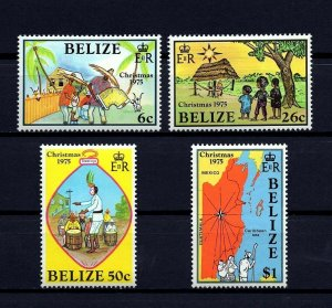 BELIZE - 1975 - CHRISTMAS - MUSIC - MAP - HOLY FAMILY + MINT - MNH SET!