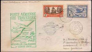 NEW CALEDONIA 1940 first flight cover to Honolulu, Hawaii.......33382