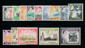 RHODESIA & NYASALAND 158-171 MINT LH, QEII SET TRAIN