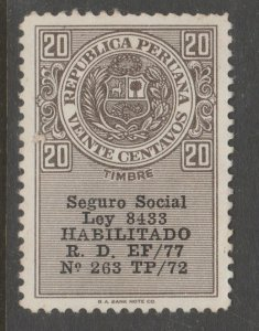 Peru no gum Revenue fiscal stamp- 8-21-18