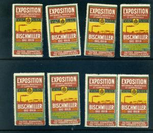 8 VINTAGE 1924 FRENCH INDUSTRY EXPO POSTER STAMPS (L762) FRANCE