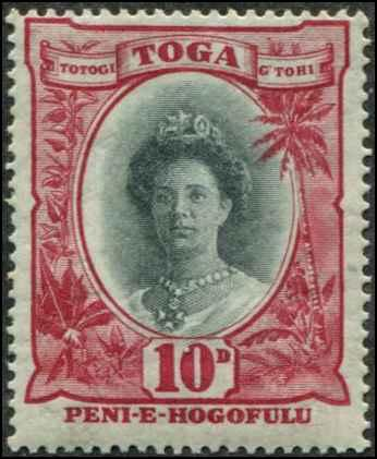 Tonga SC# 61 SG# 62  Queen Salote 10d MLH